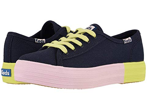 KEDS KIDS キック キッズ ベビー マタニティ ジュニア 【 Triple Kick (little Kid/big Kid) 】 Navy Block Foxing