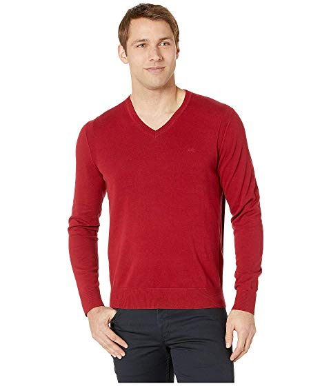 MICHAEL KORS ブイネック メンズファッション トップス ニット セーター メンズ 【 Cotton V-neck Pullover 】 Ruby Red