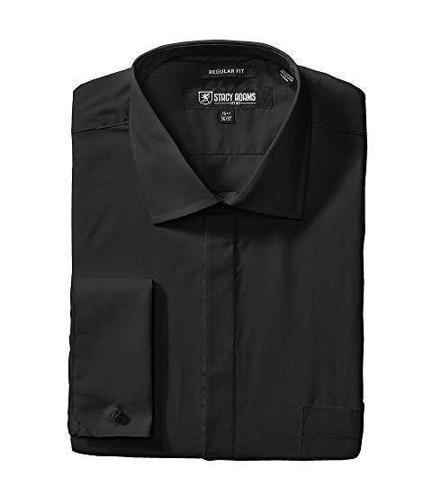 STACY ADAMS アダムス ソリッド ドレス 黒 ブラック & 【 BLACK STACY ADAMS BIG TALL 39000 SOLID DRESS SHIRT 】 メンズファッション トップス カジュアルシャツ