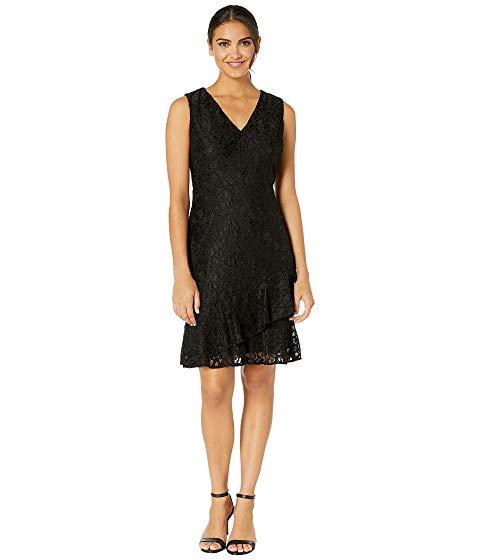 SAM EDELMAN ドレス 黒 ブラック 【 BLACK SAM EDELMAN RUFFLE TIERED LACE DRESS 】 レディースファッション ドレス
