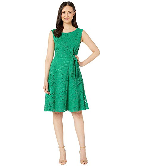 TAHARI BY ASL ドレス 緑 グリーン 【 GREEN TAHARI BY ASL STRETCH LACE SIDE TIE FIT AND FLARE DRESS TROPICAL 】 レディースファッション ドレス
