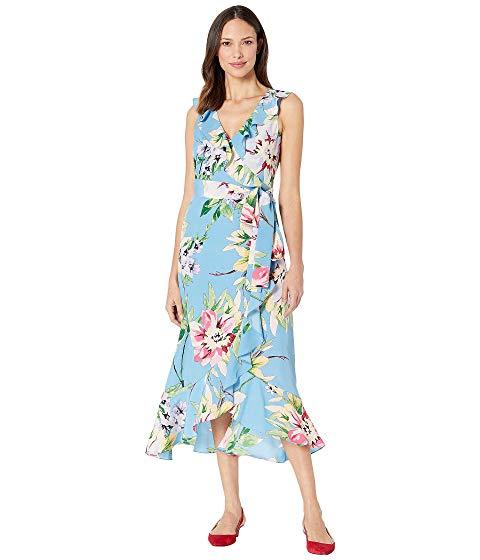 VINCE CAMUTO ブイネック ドレス 青 ブルー 【 BLUE VINCE CAMUTO VNECK DRESS WITH RUFFLE DETAILS MULTI 】 レディースファッション ドレス