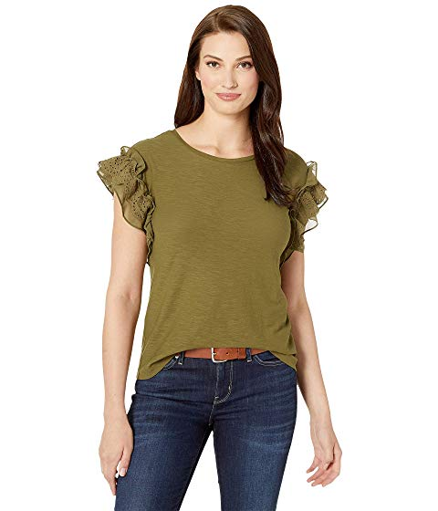 TWO BY VINCE CAMUTO スリーブ 【 SLEEVE SHORT EYELET TRIM MIX MEDIA TOP GREEN OASIS 】 レディースファッション トップス 送料無料