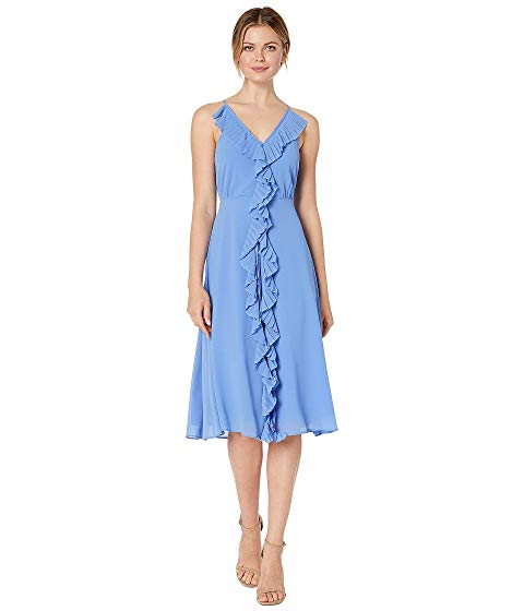 VINCE CAMUTO ドレス 【 VINCE CAMUTO SOUFFLE CHIFFON MIDI DRESS WITH PLEATING PERIWINKLE 】 レディースファッション ドレス