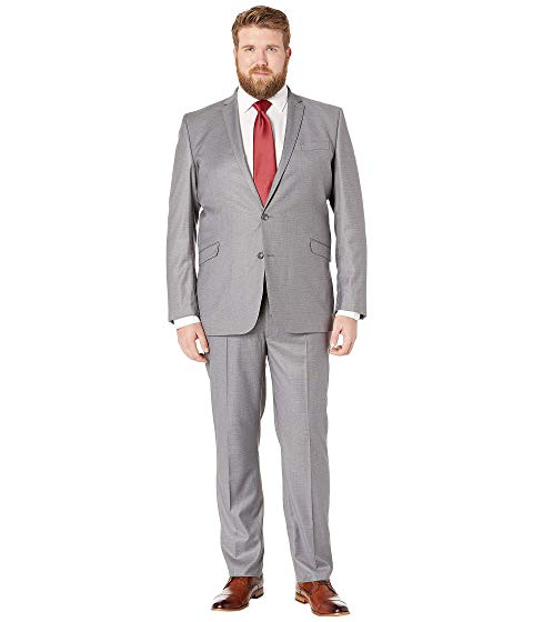 KENNETH COLE REACTION GRAY灰色 グレイ & 【 GREY BIG TALL TECHNICOLE OPEN BOTTOM SUITS LIGHT BASKETWEAVE 】 メンズファッション スーツ セットアップ 送料無料