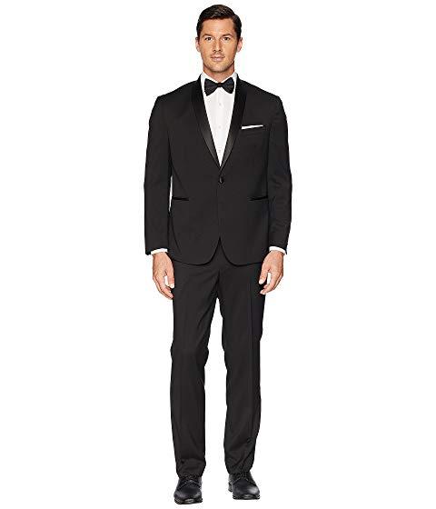 "KENNETH COLE REACTION スリム 32"" メンズファッション スーツ セットアップ メンズ 【 Stretch Slim Fit Shawl Collar 32"" Finished Bottom Tuxedo 】 Black"