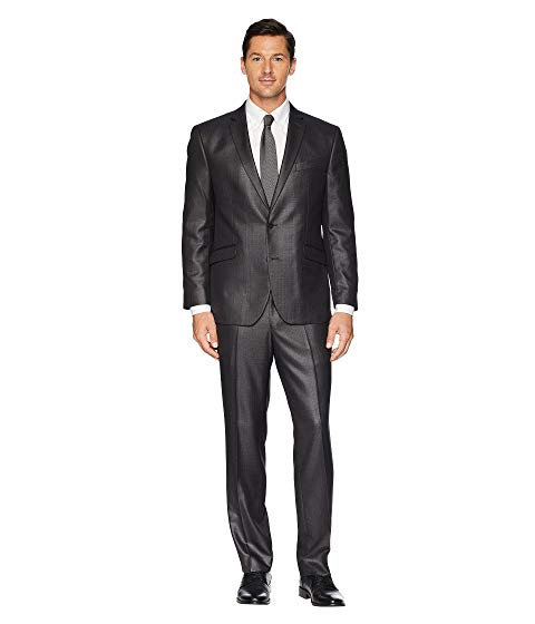 "KENNETH COLE REACTION スリム 32"" メンズファッション スーツ セットアップ メンズ 【 Unlisted Slim Fit Stretch 32"" Finished Bottom Suit 】 Grey Sheen"