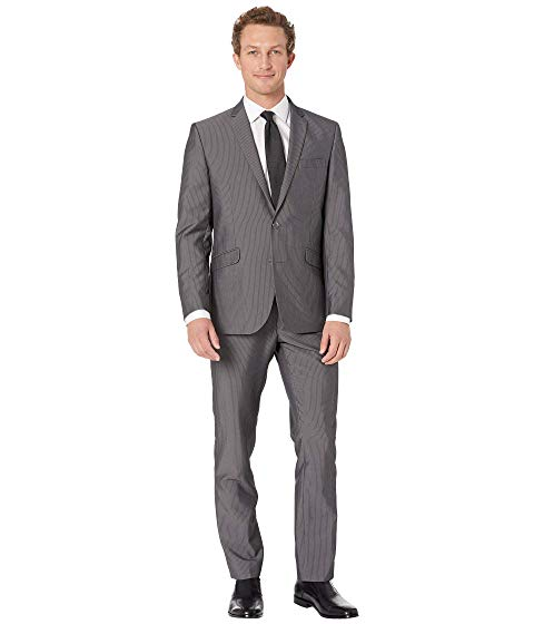 "KENNETH COLE REACTION スリム 32"" メンズファッション スーツ セットアップ メンズ 【 Unlisted Slim Fit Stretch 32"" Finished Bottom Suit 】 Grey Stripe"
