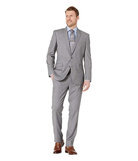 KENNETH COLE REACTION スリム パフォーマンス メンズファッション スーツ セットアップ メンズ 【 Plaid Slim Fit Stretch Performance Suit 】 Grey