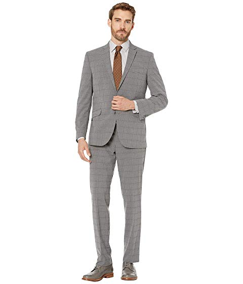 KENNETH COLE REACTION スリム パフォーマンス メンズファッション スーツ セットアップ メンズ 【 Graph Plaid Slim Fit Stretch Performance Suit 】 Grey Plaid