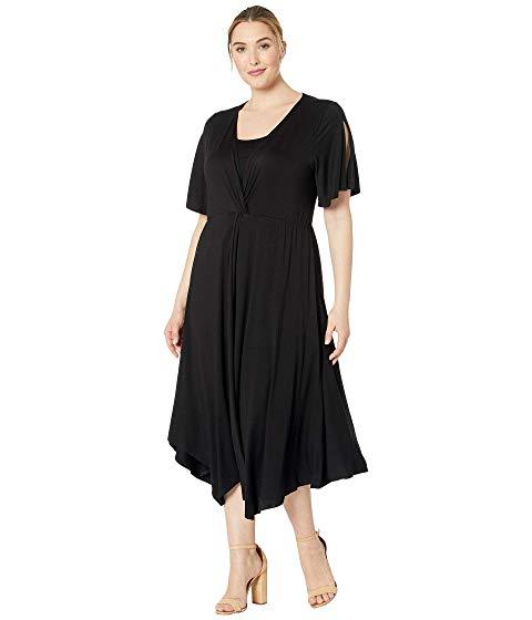 KAREN KANE PLUS ドレス 黒 ブラック 【 BLACK KAREN KANE PLUS SIZE ASYMMETRIC TWIST FRONT DRESS 】 レディースファッション ドレス