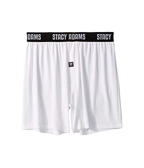 STACY ADAMS アダムス ショーツ ハーフパンツ 白 ホワイト 【 WHITE STACY ADAMS BOXER SHORTS 】 インナー 下着 ナイトウエア メンズ