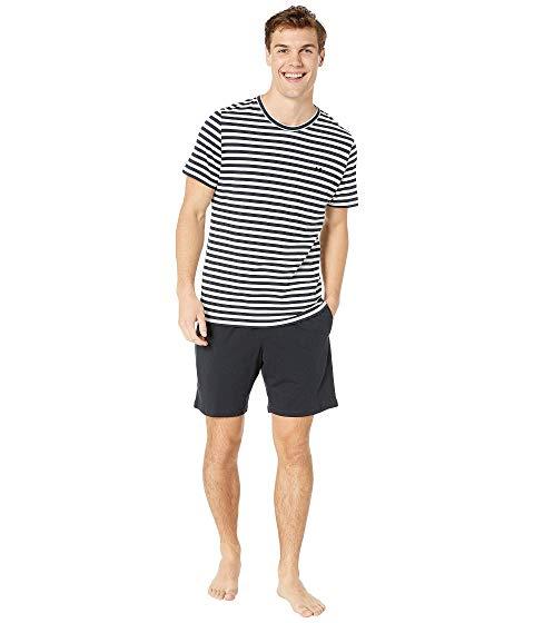 HOM インナー 下着 ナイトウエア メンズ ナイト ルーム 【 Silversea Short Sleepwear 】 Navy/white
