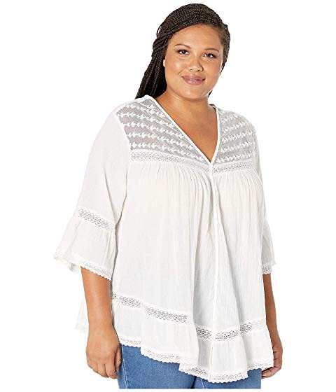 KAREN KANE PLUS 【 SIZE EMBROIDERED LACEINSET TOP OFFWHITE 】 レディースファッション トップス 送料無料