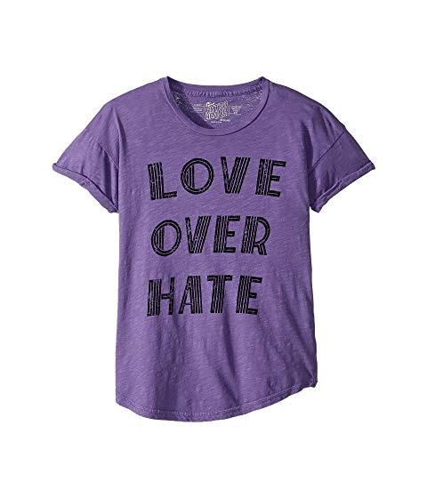 THE ORIGINAL RETRO BRAND KIDS スリーブ Tシャツ キッズ ベビー マタニティ トップス ジュニア 【 Love Over Hate Rolled Short Sleeve Slub Tee (big Kids) 】 Grape
