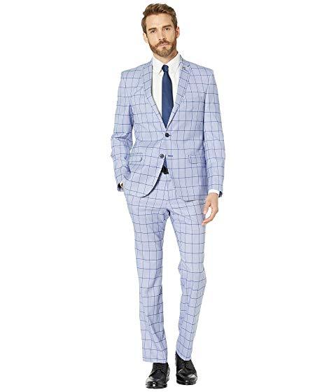 NICK GRAHAM 青 ブルー メンズファッション スーツ セットアップ メンズ 【 Blue Windowpane Suit 】 Blue