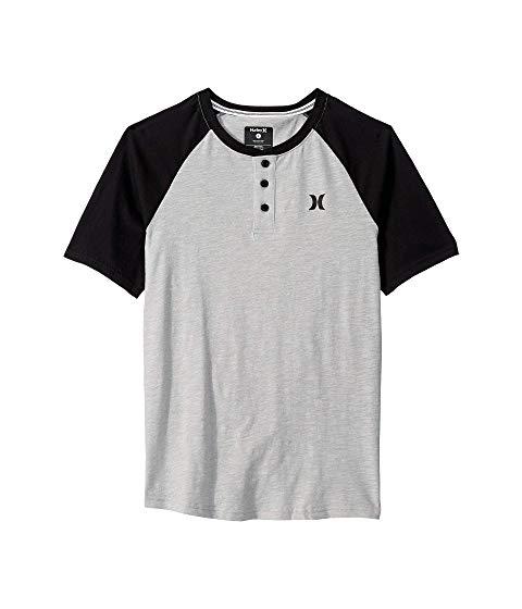 HURLEY KIDS ラグラン スリーブ Tシャツ キッズ ベビー マタニティ トップス ジュニア 【 Marled Raglan Short Sleeve T-shirt (big Kids) 】 Grey Heather