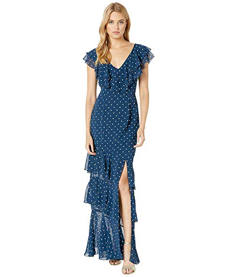 【★スーパーセール中★ 6/11深夜2時迄】WAYF ドレス レディースファッション レディース 【 Hailey Ruffle Midi Dress 】 Navy Polka Dot