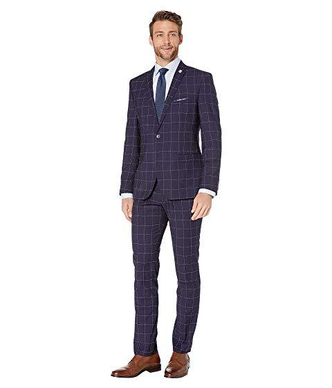 NICK GRAHAM メンズファッション スーツ セットアップ メンズ 【 Windowpane Plaid Suit 】 Blue Windowpane