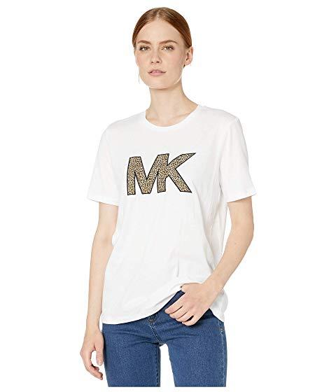 MICHAEL KORS ロゴ 【 CHEETAH MK LOGO TSHIRT WHITE 】 レディースファッション トップス 送料無料