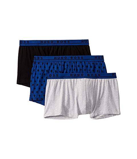 ボスヒューゴボス BOSS HUGO BOSS インナー 下着 ナイトウエア メンズ 【 3-pack One Design Trunks 】 Grey/blue Argyle/black