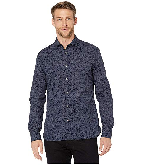 JOHN VARVATOS STAR U.S.A. スリーブ SHIRT, FRONT, 【 SLEEVE FULTON LONG SPORT CLEAN BUTTON CLOSURE W671V3B OFFICER BLUE 】 メンズファッション トップス カジュアルシャツ 送料無料