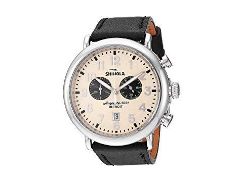 SHINOLA DETROIT デトロイト クリーム 黒 ブラック レザー ストラップ 【 BLACK SHINOLA DETROIT 47 MM RUNWELL CHRONO CREAM LEATHER STRAP 】 腕時計 メンズ腕時計