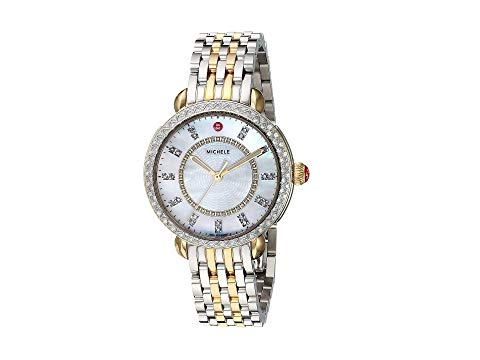 MICHELE クラシック 白 ホワイト 銀色 シルバー 金色 ゴールド DIAMONDS, 【 WHITE SILVER MICHELE SIDNEY CLASSIC MOTHEROFPEARL WITH TWOTONE GOLD 】 腕時計 レディース腕時計
