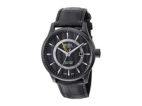 MIDO 黒 ブラック ケース レザー ストラップ 【 BLACK MIDO MULTIFORT GMT WITH PVD CASE AND LEATHER STRAP M0384293605100 】 腕時計 メンズ腕時計