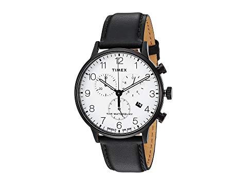 【★スーパーセール中★ 6/11深夜2時迄】TIMEX クラシック レザー 腕時計 メンズ腕時計 メンズ 【 Waterbury Classic Chrono Leather 】 Black/white