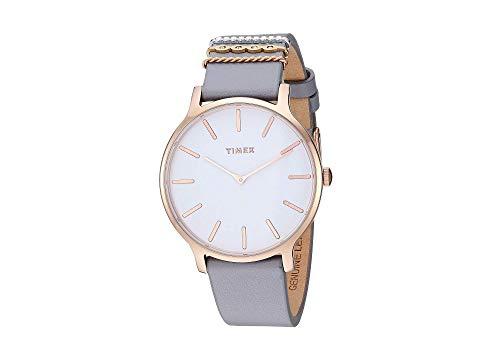 TIMEX タイメックス レザー ストラップ 灰色 グレー グレイ 白 ホワイト 【 GRAY WHITE TIMEX 38 MM TRANSCEND LEATHER STRAP 】 腕時計 レディース腕時計