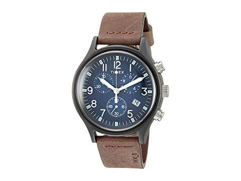 TIMEX タイメックス 銀色 スチール 青 ブルー 茶 ブラウン 【 BLUE BROWN TIMEX 42 MM MK1 STEEL CHRONOGRAPH GUNMETAL 】 腕時計 メンズ腕時計