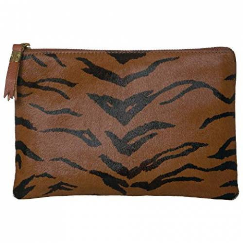 MADEWELL レザー バッグ レディース 【 Leather Pouch Clutch In Printed Haircalf 】 Maple Syrup
