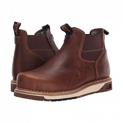 GEORGIA BOOT アンプ 銀色 スチール ブーツ スニーカー メンズ 【 Amp Lt Wedge Steel Toe Waterproof Chelsea Work Boot 】 Dark Brown