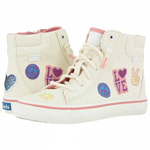 KEDS KIDS ハイ ナチュラル 【 KEDS KIDS DOUBLE UP HIGH TOP LITTLE KID BIG MESSAGE NATURAL PATCH 】 キッズ ベビー マタニティ