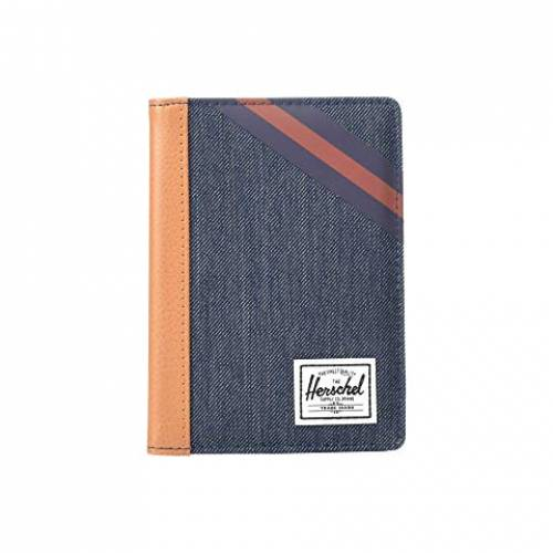 HERSCHEL SUPPLY CO. バッグ ユニセックス 【 Raynor Passport Holder Rfid 】 Indigo Denim/synthetic Leather Stripe Peacoat/picante