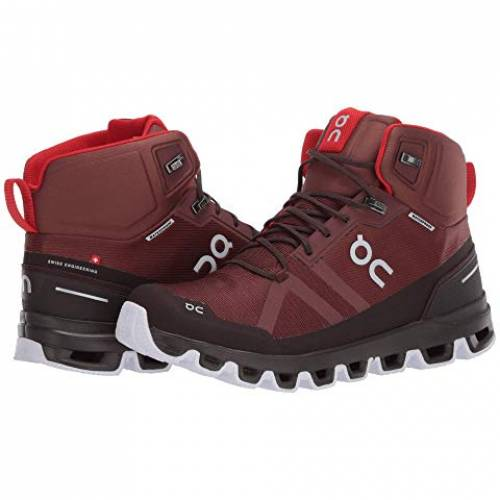 ON 赤 レッド スニーカー 【 RED ON CLOUDROCK WATERPROOF COCOA 】 メンズ スニーカー