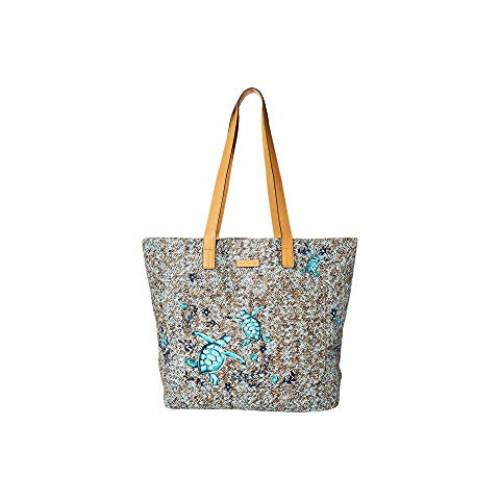 VERA BRADLEY バッグ レディース 【 Front Pocket Straw Tote 】 Mint Brown Sea Life