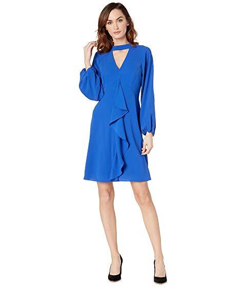 アドリアナパペル ADRIANNA PAPELL クレープ ドレス レディースファッション ワンピース レディース 【 Fancy Crepe Ruffle Dress 】 Moroccan Blue