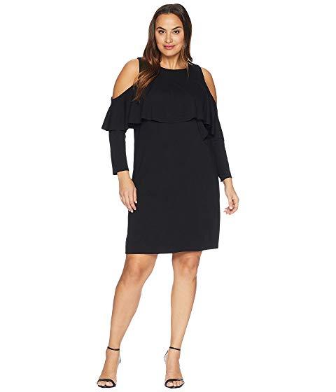 KARI LYN ドレス 黒 ブラック 【 BLACK KARI LYN PLUS SIZE AMY COLD SHOULDER DRESS 】 レディースファッション ワンピース
