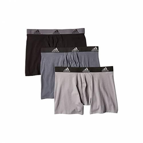 アディダス ADIDAS インナー 下着 ナイトウエア メンズ 【 Stretch Cotton Boxer Brief 3-pack 】 Onix/black/black/onix Grey/black