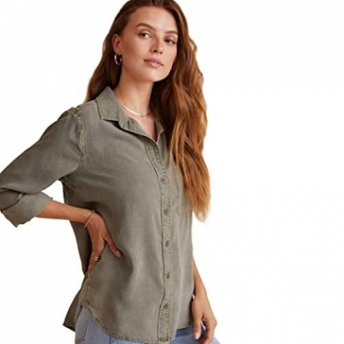 BELLA DAHL ダウン レディースファッション トップス レディース 【 Shirt Tail Button Down Shirt In Tencera 】 Soft Army