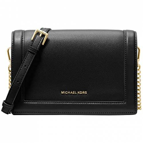 MICHAEL MICHAEL KORS 黒 ブラック 【 BLACK MICHAEL KORS JET SET LARGE FULL FLAP CHAIN CROSSBODY 】 バッグ