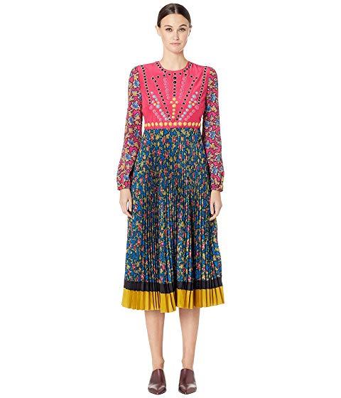 【海外限定】赤 レッド クレープ ドレス レディースファッション ワンピース 【 RED VALENTINO RAMAGE ROSES PRINT CREPE DE CHINE AND DRESS 】【送料無料】