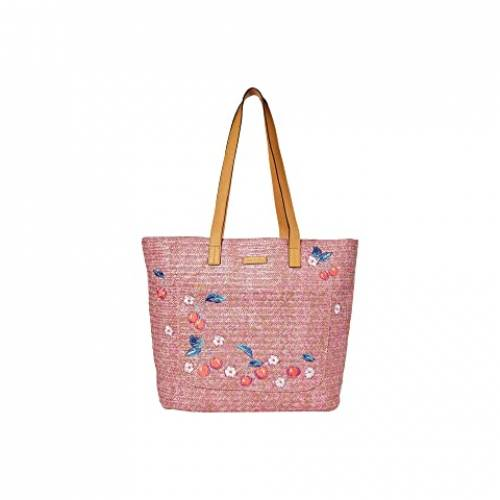 VERA BRADLEY バッグ レディース 【 Front Pocket Straw Tote 】 Pink Cherry