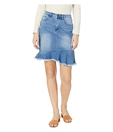 【海外限定】デニム 青 ブルー ボトムス レディースファッション 【 BLUE SOFT DENIM JEANS SKIRT W FRAYED FRILLED HEM IN BLISS 】【送料無料】
