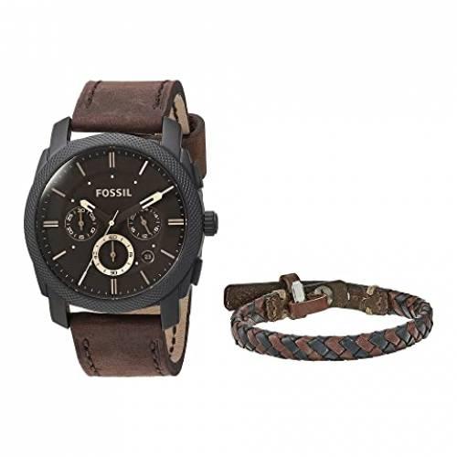 FOSSIL ウォッチ 時計 ブレスレット ボックス 茶 ブラウン 【 WATCH BROWN FOSSIL MACHINE AND BRACELET BOX SET FS5251SET DARK 】 腕時計 メンズ腕時計