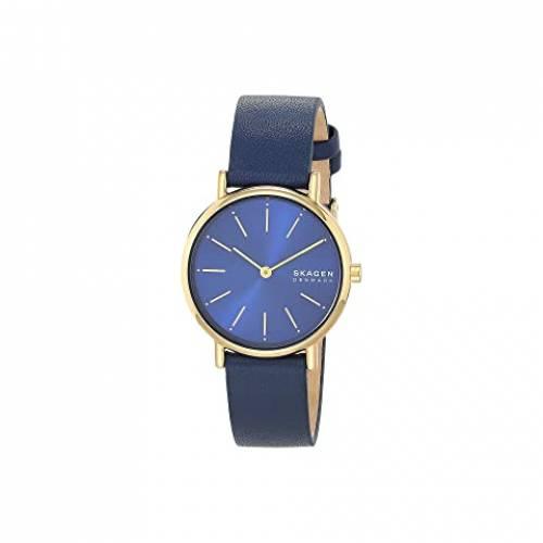 SKAGEN レディース ウォッチ 時計 金色 ゴールド 青 ブルー レザー WOMEN'S 【 WATCH BLUE SKAGEN SIGNATUR TWOHAND SKW2867 GOLD LEATHER 】 腕時計 レディース腕時計