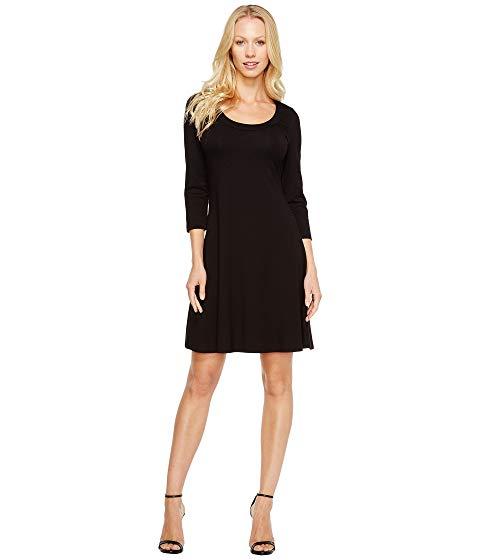 【★スーパーセール中★ 6/11深夜2時迄】KAREN KANE スリーブ ドレス レディースファッション ワンピース レディース 【 3/4 Sleeve A-line Dress 】 Black