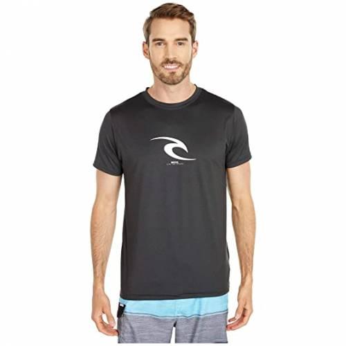 RIP CURL アイコン スリーブ Tシャツ 黒 ブラック 【 SLEEVE BLACK RIP CURL ICON SHORT UV TEE MARLE 】 メンズファッション 水着